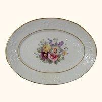 Antique British Oval Molded Porcelain Dish with a Flower Bouquet c.1825.