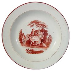 Staffordshire Pearlware Plate Transfer-Printed in Crimson with the Tea Party Pattern c.1790.