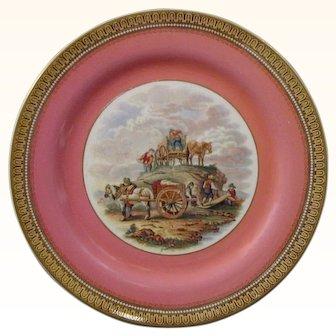 Pratt Fenton Victorian-Era Plate Showing Travelers c.1860.
