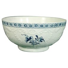Very Rare Lowestoft 18th Century Porcelain Bowl Molded with Rococo Panels and Scrolls c.1762.