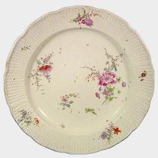 Huge Frankenthal Charger or Platter, c1760, with Robust European Flowers, German Antique 18th Porcelain