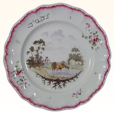 Antique Handpainted Tin-Glazed Faience Plate with a Farm Scene