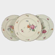 Three Ludwigsburg Plates with Basketweave and European Flowers C1750 18th German Porcelain
