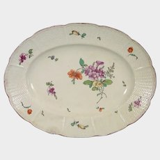 Ludwigsburg Oval Platter Basketweave Border and European Flowers C1755 Antique German Porcelain.