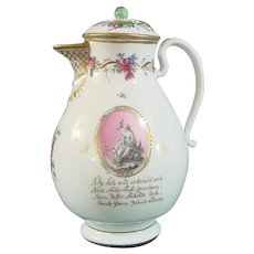 Vienna 18th-Century Porcelain Coffee Pot with a Message of Eternal Love c.1790.