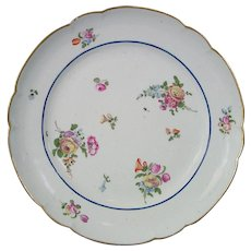 Clignancourt Old Paris Plate Decorated with Flowers c.1780.