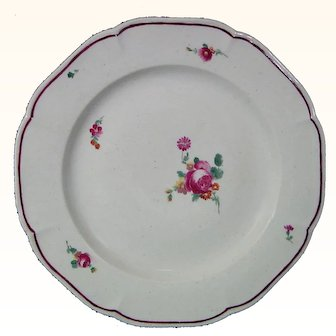 Rare Strasbourg Hannong Family or Continental Porcelain Plate c.1755.