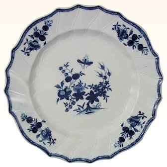 18th-C. Tournai Plate from Belgium with Blue Flowers c.1770.