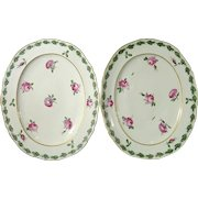 Very Rare 18th Century Italian Porcelain Pair of Le Nove Platters Decorated with Roses c.1790.