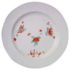 1730-35 Meissen Kakiemon Plate with Rare Molded Peony Design