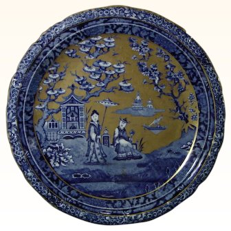 Kent Foley Plates with a Blue Oriental Transfer and Solid Gilt Backgrounds c.1900.
