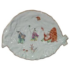 c.1760 Large Worcester Leaf-Shaped Dish in the Putai Pattern c.1765.