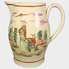 Staffordshire Creamware Pitcher, Chinoiseries Decoration C1770. Antique 18th British Pottery
