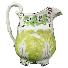 Prattware Acanthus-Leaf Molded Pitcher C1820.