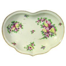 Worcester Heart-Shaped Dessert Dish Decorated with Spotted Fruit c.1778.