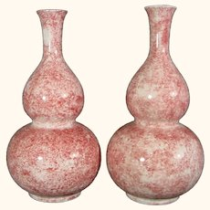Pair Red and Blue Glazed Double Gourd Porcelain Vases Lawleys Stoke Norfolk C1930