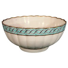 Dr. Wall Worcester Fluted Bowl with Blue Rim c.1775