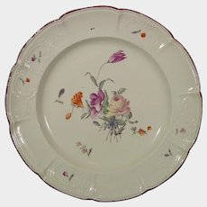 Ludwigsburg Rococo Plate with Flowers c1765 18th German Porcelain