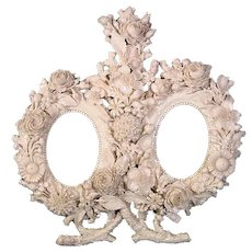 Early Antique Belleek Porcelain Mirror Frame with Encrusted Flowers.