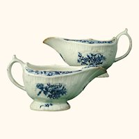 Lowestoft Porcelain Pair of Blue and White Sauceboats c.1780.