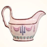 Staffordshire Pratt Style Pearlware Gravy Boat or Creamer in Classical Style Molded with Swags c.1810.
