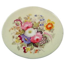 English Small Oval Plaque Decorated with a Colorful Flower Bouquet c.1820.