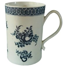 Chinese Export Tankard or Mug Hand-Painted in Blue (a la Worcester or Caughley) with Fruit and Flowers. c.1765.