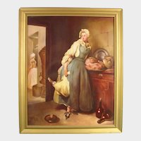 """Minton Plaque by Woodhouse of Chardin's """"Return from the Market,"""" Dated 1963."""