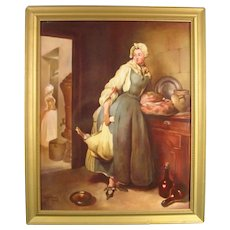 "Minton Plaque by Woodhouse of Chardin's ""Return from the Market,"" Dated 1963."