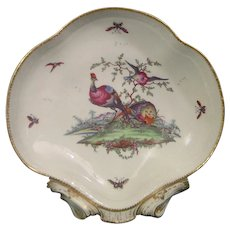 Pair of 18thc. Worcester Dessert Dishes with Exotic Birds C.1775