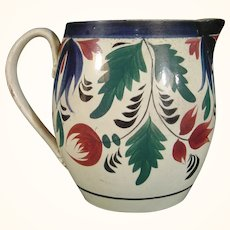 Staffordshire Pottery Pitcher with Adams-Style Flowers and Leaves C.1830.