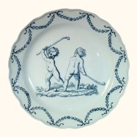 18thc. Meissen Bowl with Children Playing Lacrosse C.1770