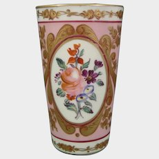 English Beaker or Vase with Pink Ground and Colorful Flowers C1850 Antique Victorian Porcelain.