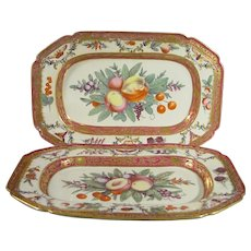 Pair of Worcester Platters Decorated in the James Giles Workshop C.1775.