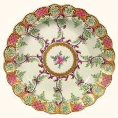 Worcester c.1775 Earl Manvers Hop Trellis Scroll Plate.