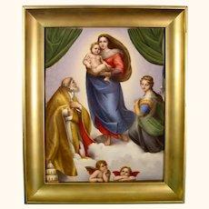 KPM Berlin Porcelain Plaque of Raphael's Sistine Madonna.
