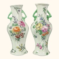 Pair of Early Worcester Vases C.1758 with Meissen-Style Flowers. 18thc Porcelain
