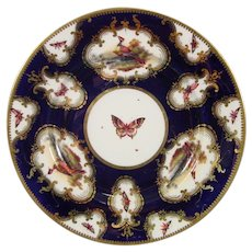 Pair - George Davis Chamberlain Worcester Plates with Exotic Birds C1820