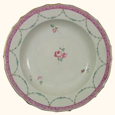 Derby Soup Plate or Dish -- Classical Swags and a Central Rose c.1780