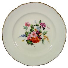 Nantgarw Plate With Flower Bouquet Marked NANT-GARW CW c.1820.