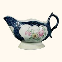 Rare Christian (Liverpool) Sauceboat in Scale Blue with Colorful Flowers C.1770 Antique 18thc English Porcelain