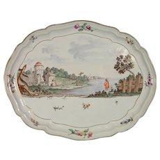 Important 1770 Josef Kaltner Nymphenburg Tray or Platter, Landscape Scene in Antique German Porcelain