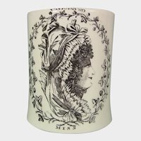 Staffordshire Creamware Mug or Tankard: Printed with Miss and Grandmama Upside Down C.1770.