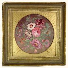 C1820 British Wall Plaque Colorful Flower Bouquet Antique Porcelain English Georgian