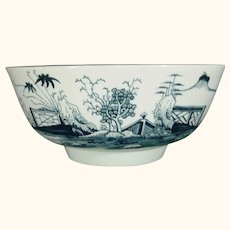 Christian Porcelain Punch Bowl Chinoiseries Scene in Blue C1768 Liverpool 18thc