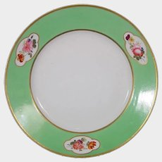 Derby Dinner Plate with Green Ground and Flowers c1825 Antique Porcelain
