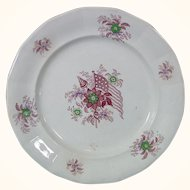 Staffordshire Patriotic Plate, Mulberry Transfer of 13-Star United States Flag, 19thc.