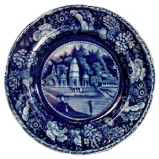 Hall Flow Blue Plate with Oriental Scenery C.1840
