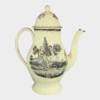 Creamware Black-Printed Coffeepot C.1785
