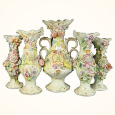 Staffordshire Garniture: 5 Vases with Applied Flowers C.1835.
